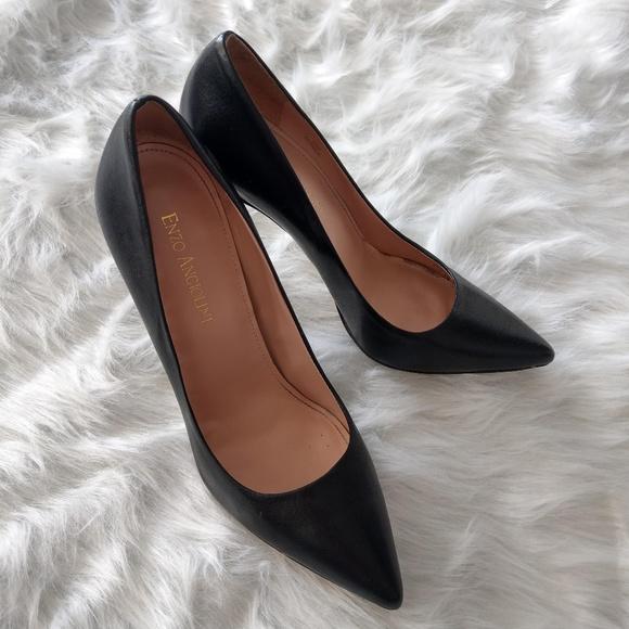 Enzo Angiolini Black Leather Stilettos